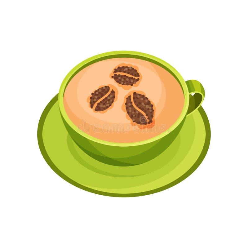 绿色杯子与咖啡豆的样式的热奶咖啡由桂香粉末制成 可口饮料 平的传染媒介象 向量例证