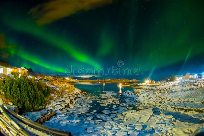 绿色极光borealis惊人的室外看法在天空在夜期间和冰中小型的片断的忘记了 库存图片