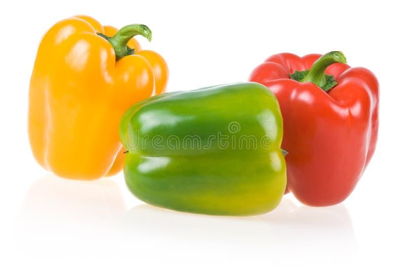 绿色查出的辣椒粉红色成熟黄色 库存图片