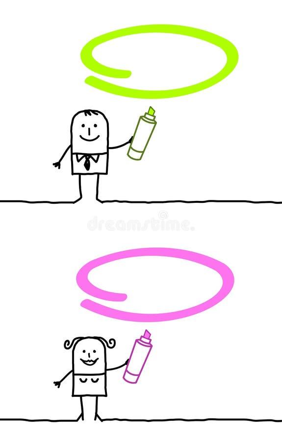绿色标记粉红色 库存例证