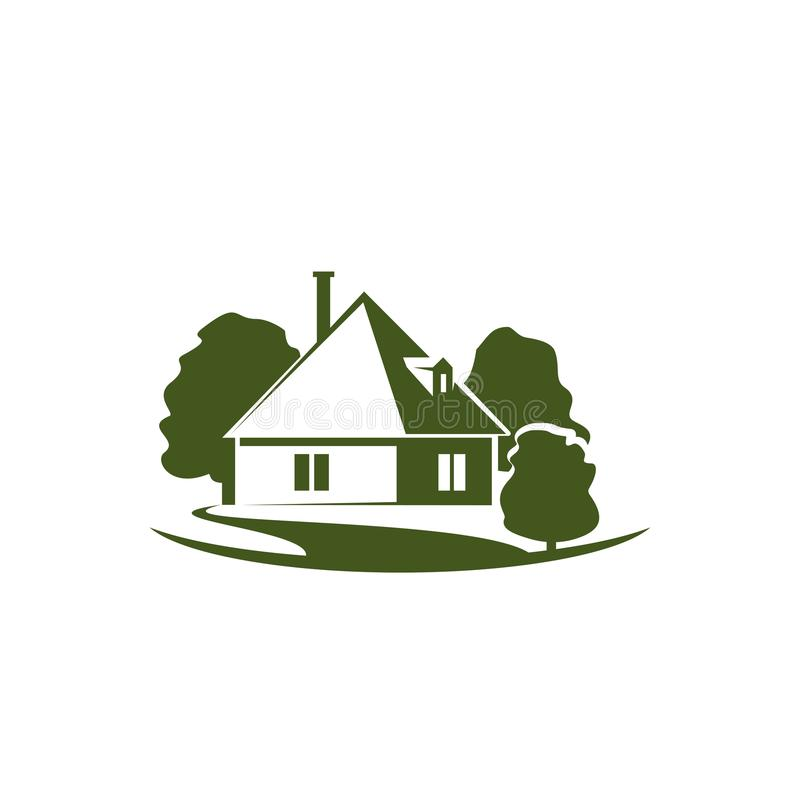 绿色树和房子庭院传染媒介象 库存例证