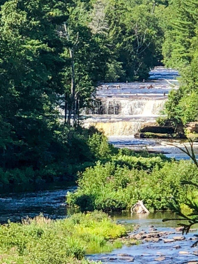 绿色树围拢的两瀑布在密执安 免版税图库摄影