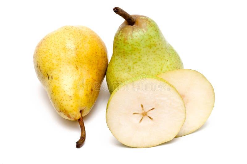 绿色梨切若干黄色 图库摄影