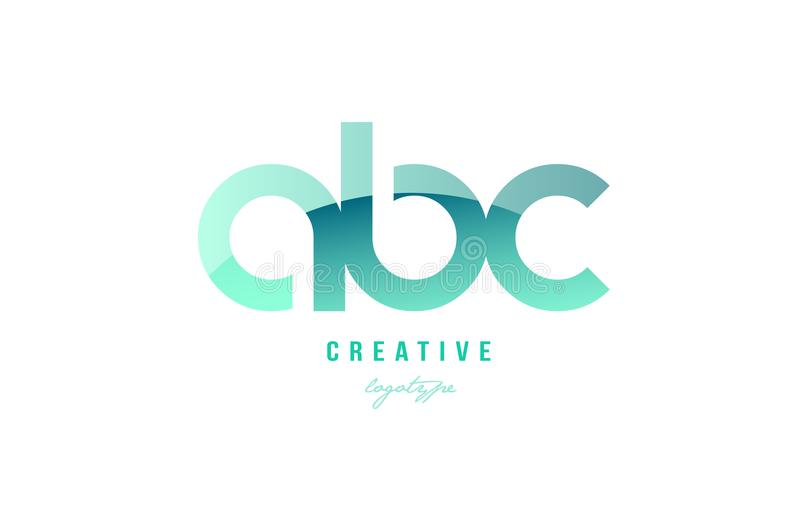 绿色梯度淡色现代abc b c字母表信件商标梳子 库存例证