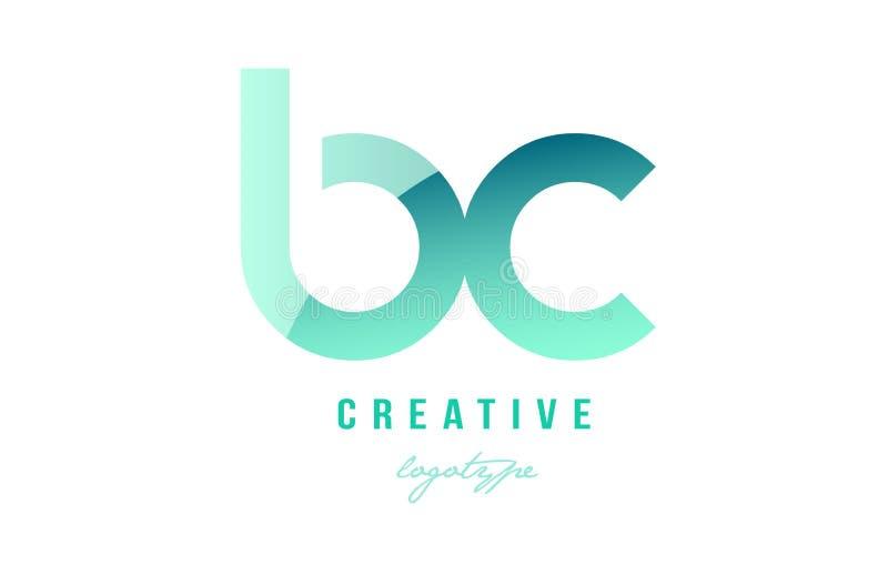 绿色梯度淡色现代BC b c字母表信件商标combina 库存例证