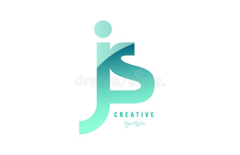 绿色梯度淡色现代js j s字母表信件商标combina 皇族释放例证