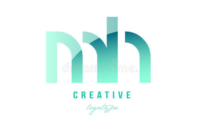 绿色梯度淡色现代mh m h字母表信件商标combina 向量例证