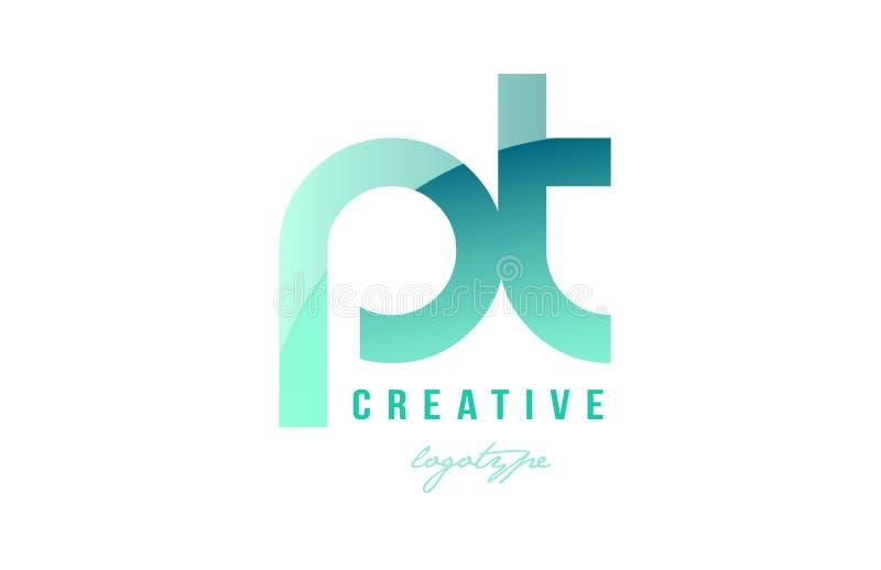 绿色梯度淡色现代pt p t字母表信件商标combina 皇族释放例证