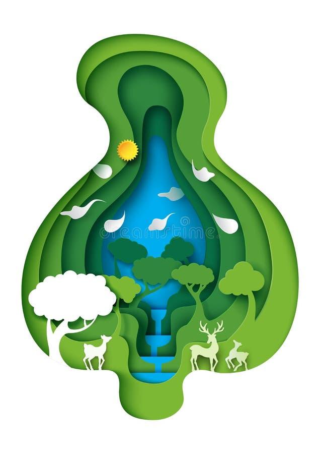 绿色森林和鹿野生生物有与gree的自然背景 皇族释放例证