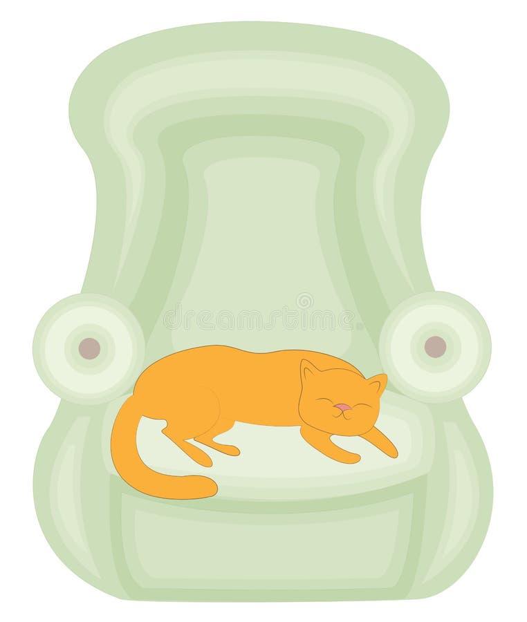 绿色椅子 睡觉在长沙发的红色逗人喜爱的猫 他是愉快和爱 椅子是软和舒适的 r 向量例证