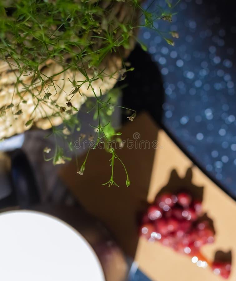绿色植物分支和叶子  在叶子下,有一个杯子豆沙牛奶和堆豆沙酱 库存图片