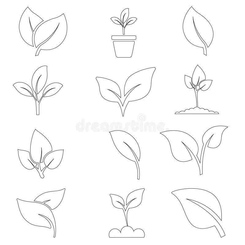 绿色植物和事假颜色象集合传染媒介 绿色植物传染媒介象例证 向量例证