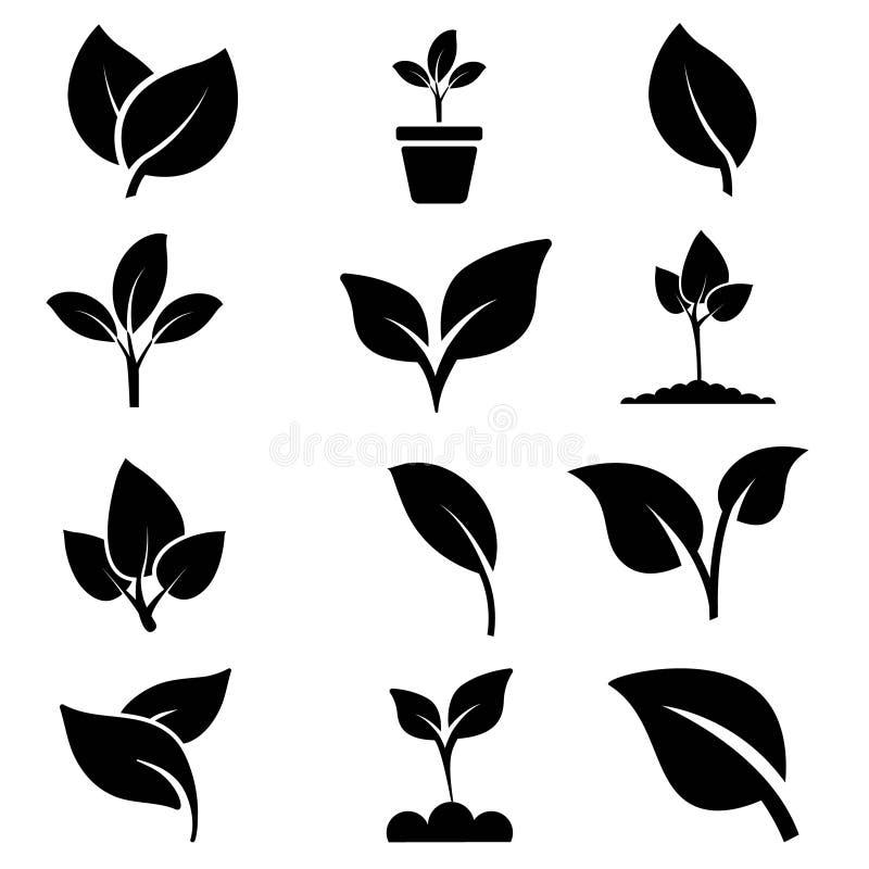 绿色植物和事假颜色象集合传染媒介 绿色植物传染媒介象例证 皇族释放例证