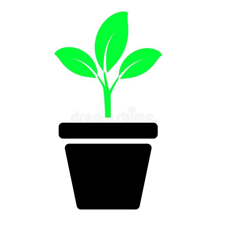 绿色植物颜色象传染媒介 植物例证标志 对网站 库存例证