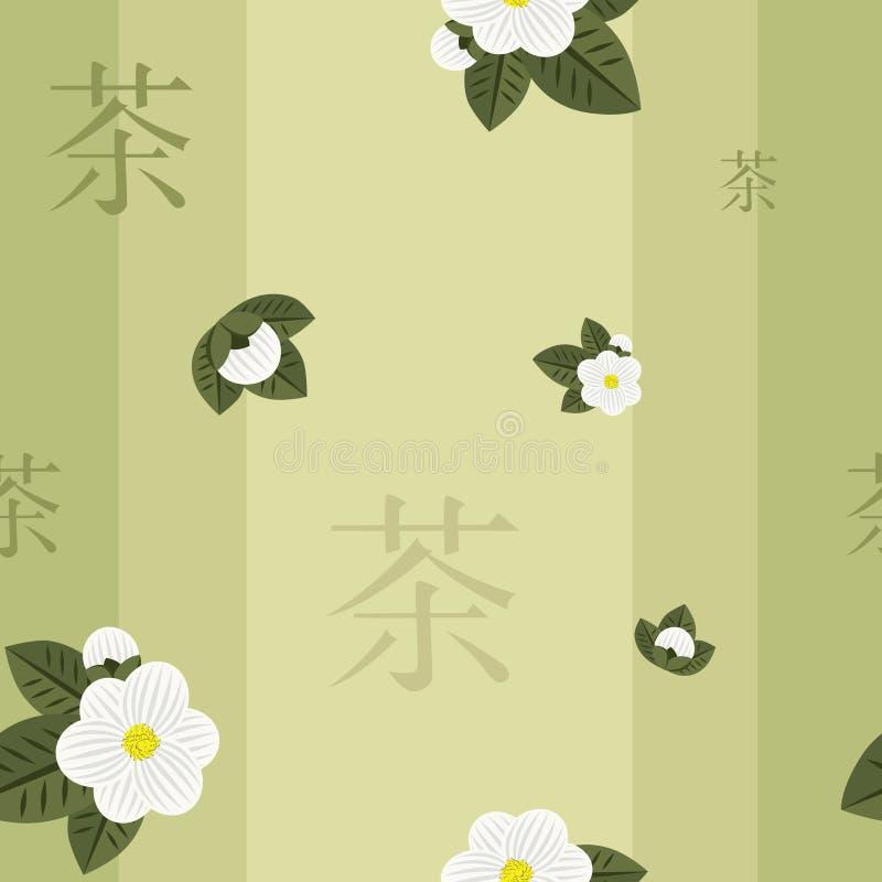 绿色模式无缝的茶 免版税库存图片