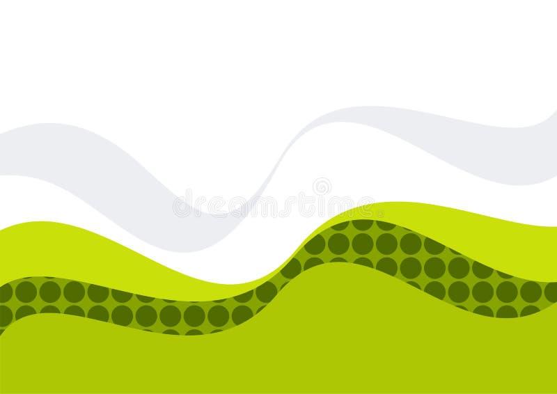 绿色模式波浪白色 库存例证