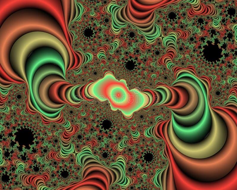 绿色橙红分数维摘要背景,用花装饰的纹理 免版税库存照片