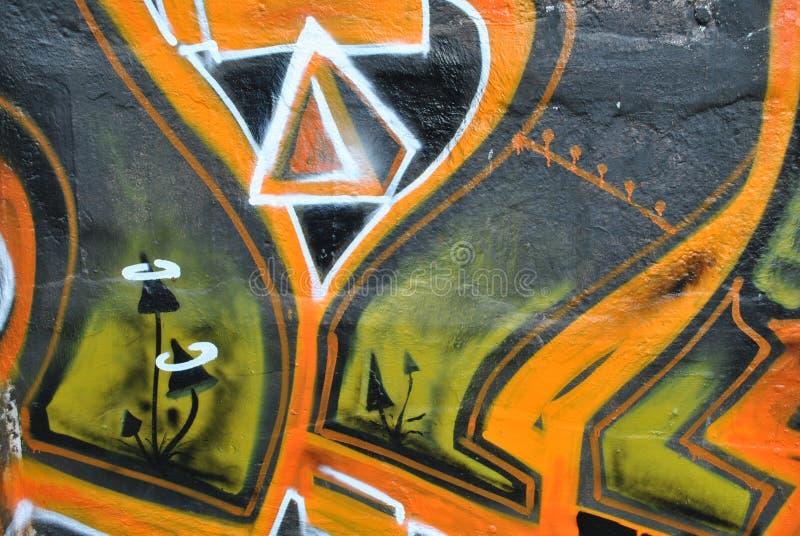 绿色橙色街道画 免版税库存图片