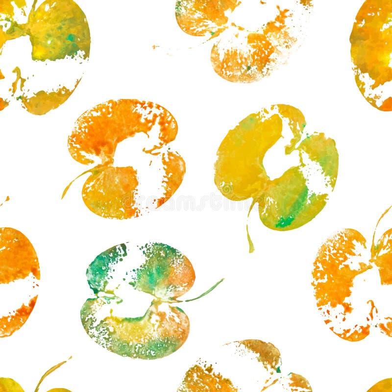 绿色橙色被对分的苹果绘了水彩,织地不很细印刷品 与苹果版本记录的夏天无缝的样式  手工制造邮票 向量例证