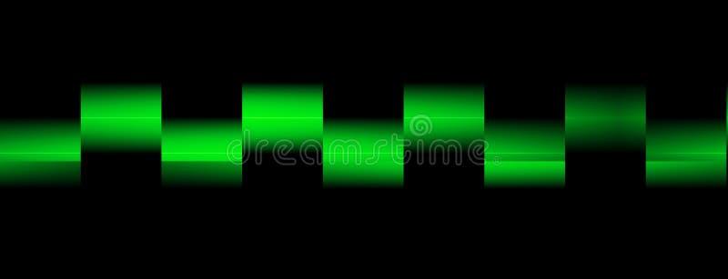 绿色正方形被弄脏的波浪霓虹线  在黑暗的背景的明亮的光亮的对象 光束 与blurre的抽象例证 库存例证