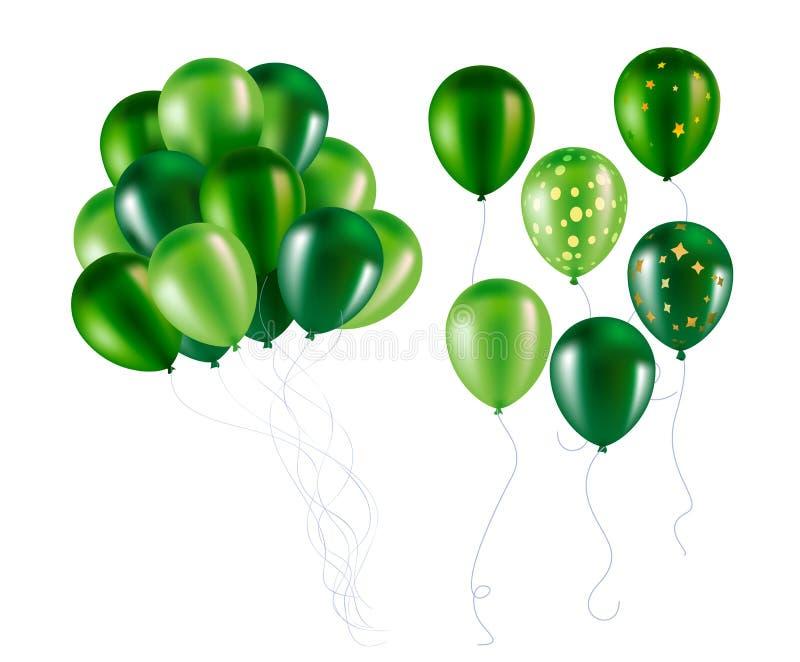 绿色气球导航飞行光滑的天空对象 皇族释放例证