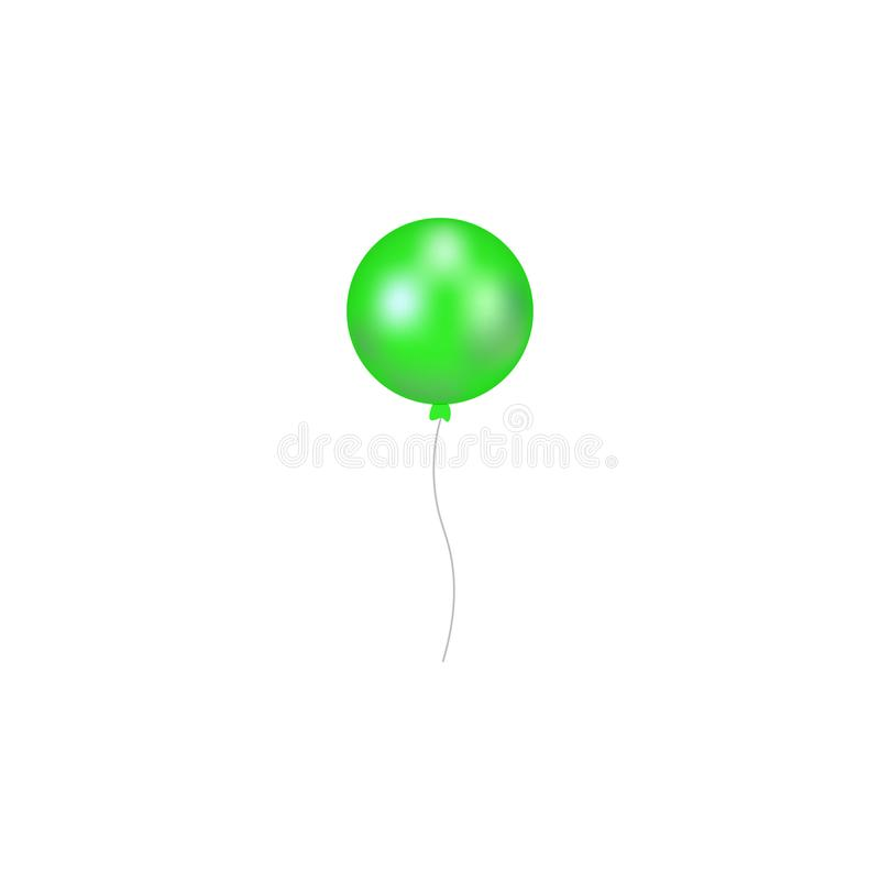 绿色气球的传染媒介例证有丝带的 在白色背景隔绝的可膨胀的空气飞行气球 向量例证