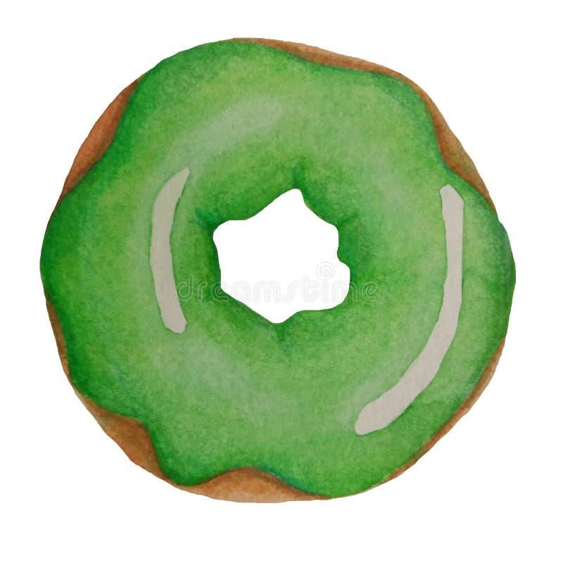 绿色水彩多福饼 皇族释放例证