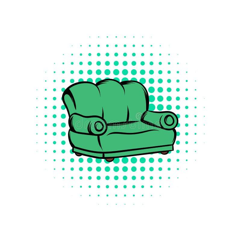 绿色沙发漫画象 皇族释放例证