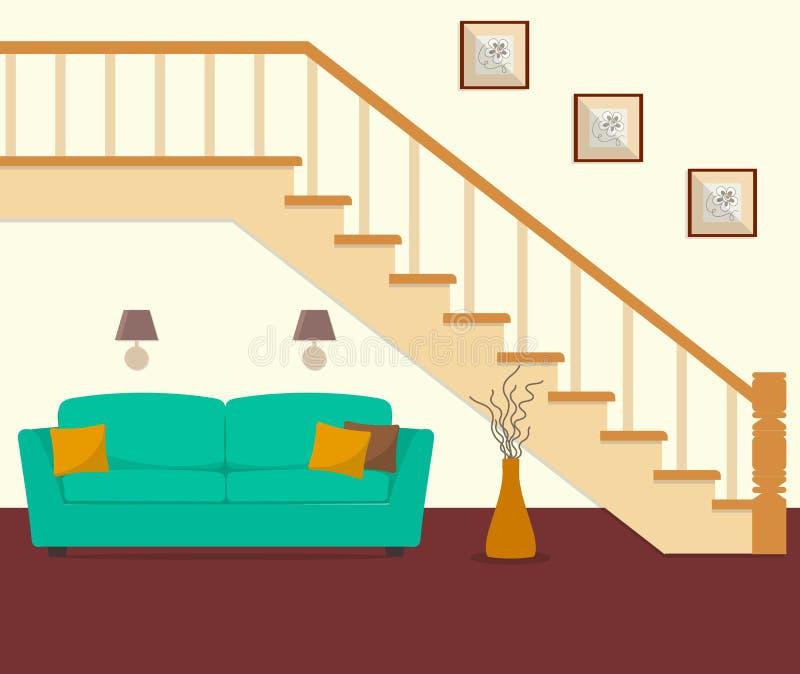 绿色沙发,位于在台阶下 向量例证