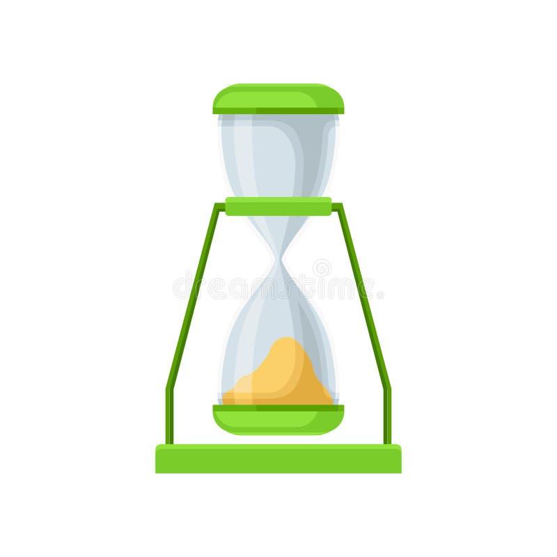 绿色沙子滴漏,测量的时间传染媒介例证sandglass设备在白色背景 库存例证