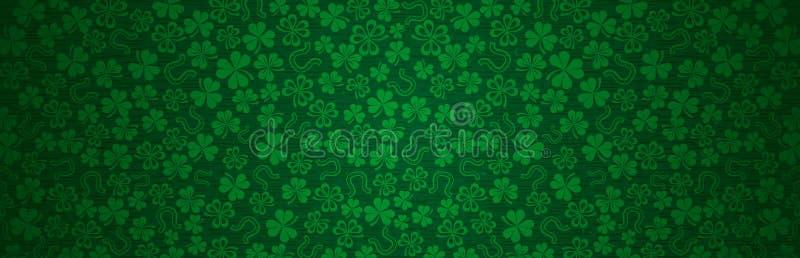绿色派克日用绿色丁香欢迎横幅 帕特里克节假日设计 水平背景,头,海报, 向量例证