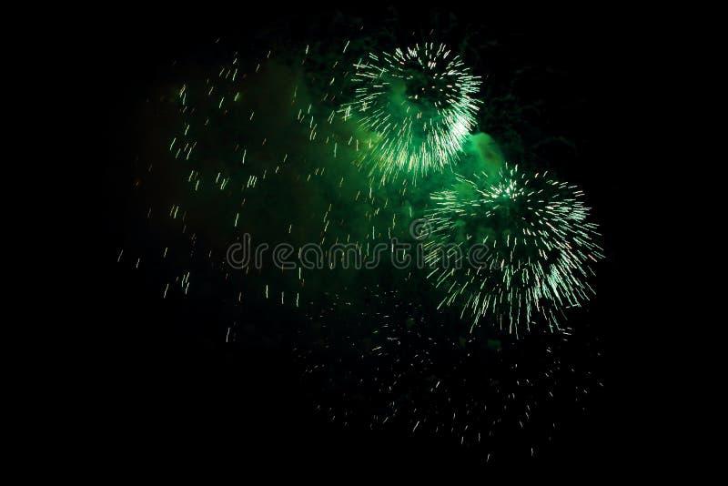 绿色烟花 库存照片