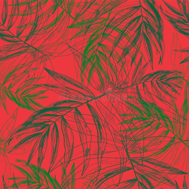 绿色热带棕榈叶,在明亮的红色背景的密林叶子无缝的花卉样式 向量例证