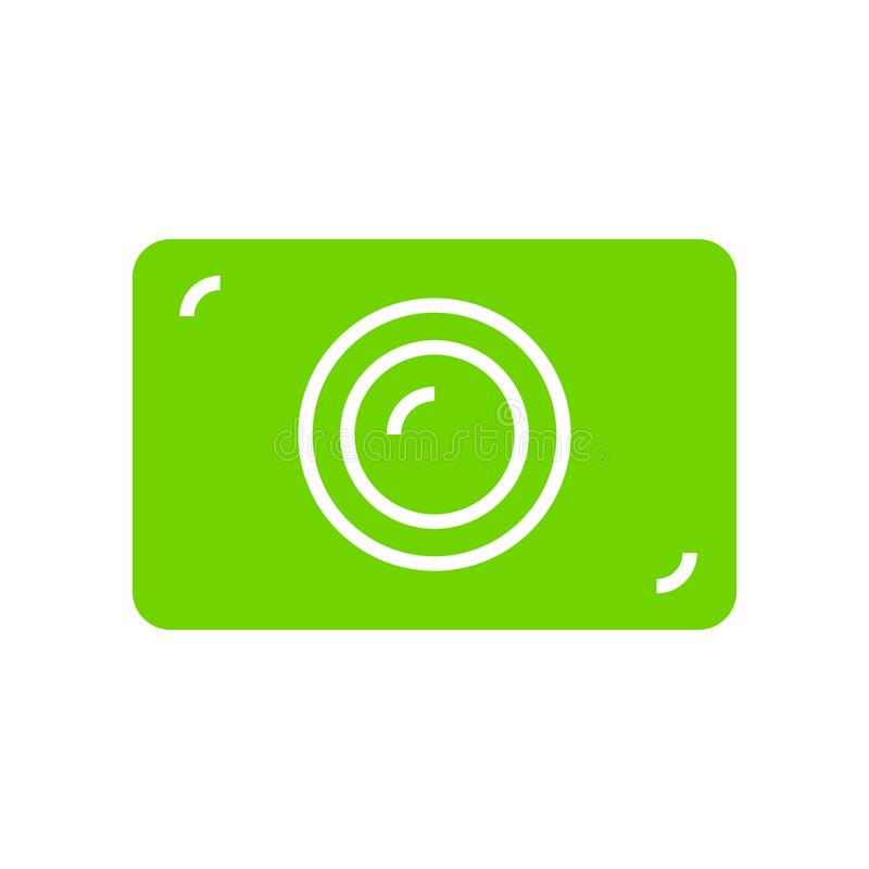 绿色照片照相机平的象 图库摄影