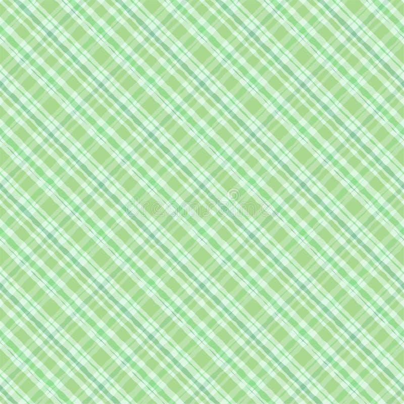 绿色爱尔兰格子花呢披肩水彩样式无缝的样式 向量例证