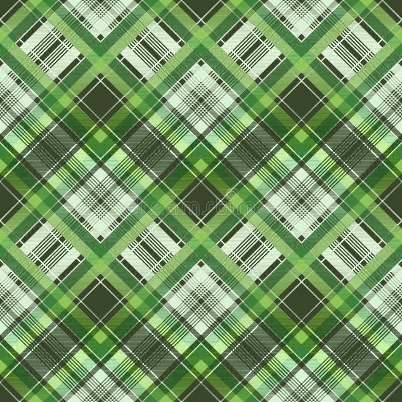 绿色爱尔兰检查织品格子花呢披肩无缝的织品纹理 库存例证