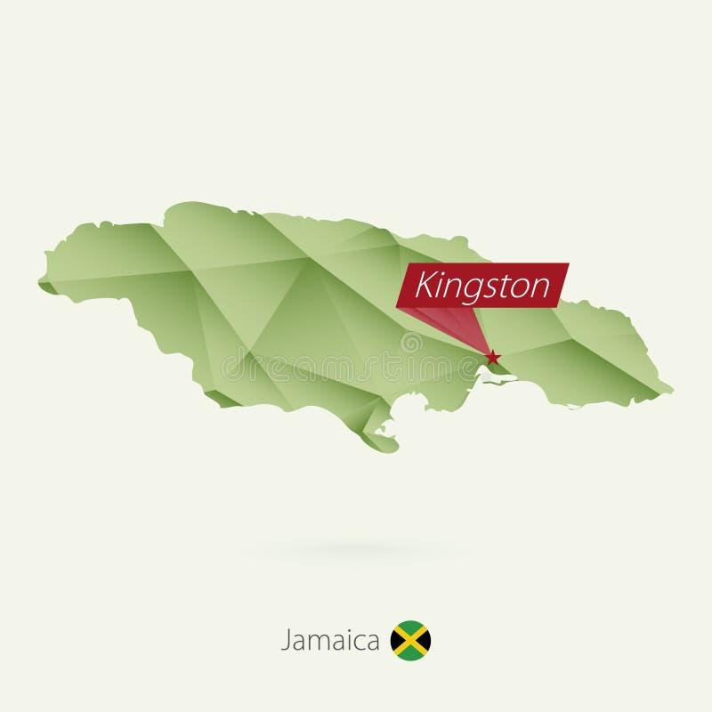 绿色牙买加的梯度低多地图有首都的金斯敦 库存例证