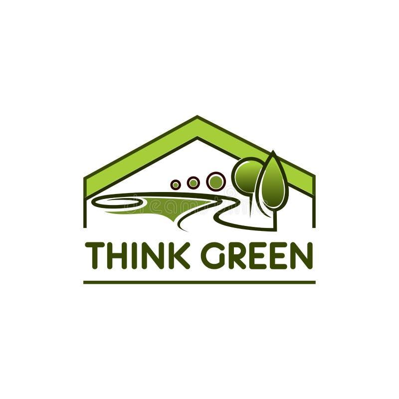 绿色环境eco房子树公园传染媒介象 皇族释放例证
