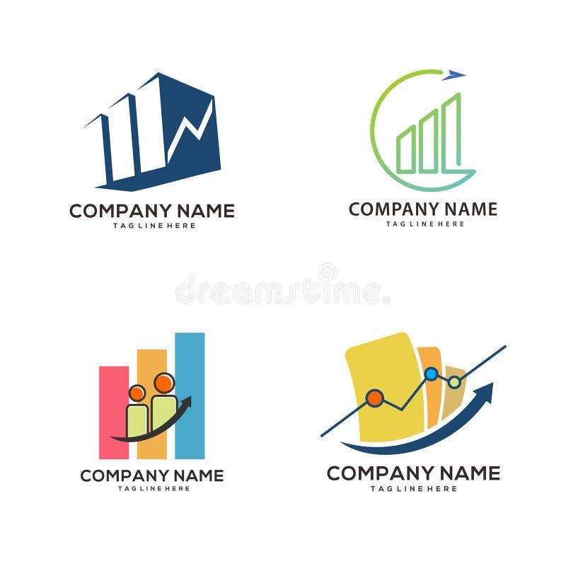 绿色现代和五颜六色的认为的财务模板商标和象 库存例证