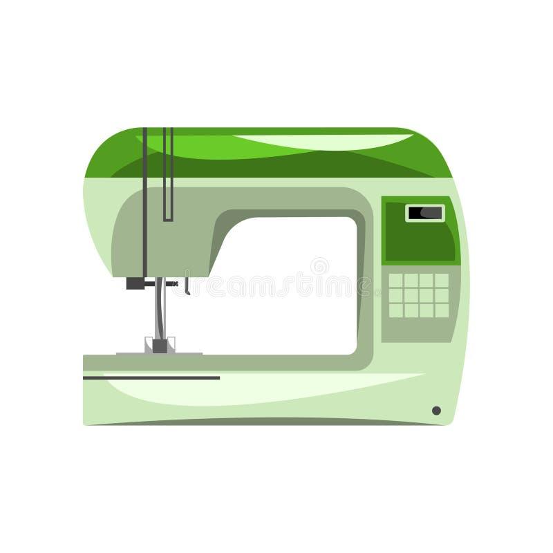 绿色现代电子缝纫机,裁缝设备在白色背景的传染媒介例证 库存例证