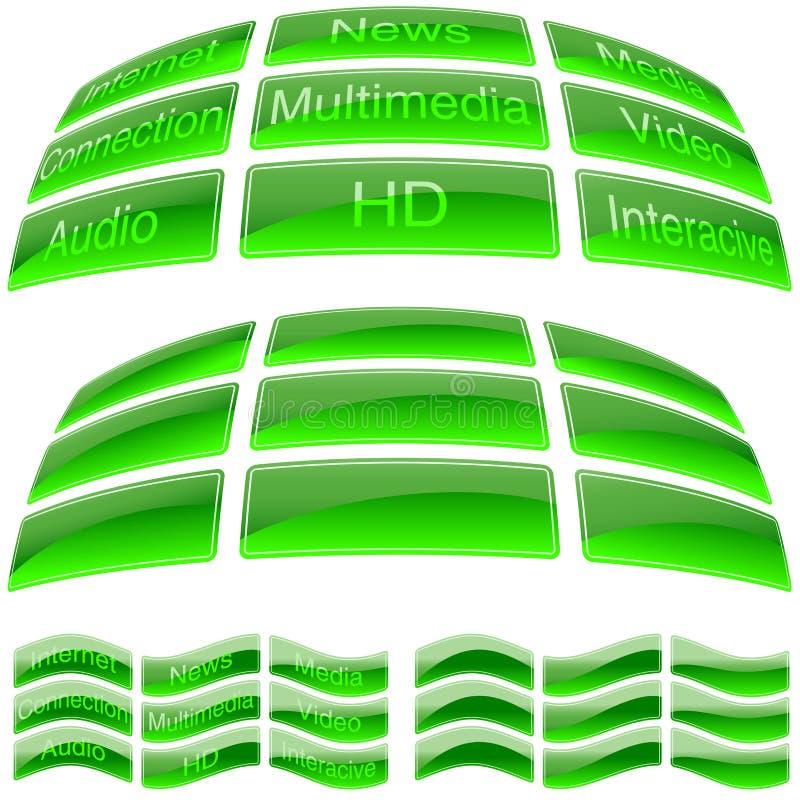 绿色玻璃按钮 皇族释放例证