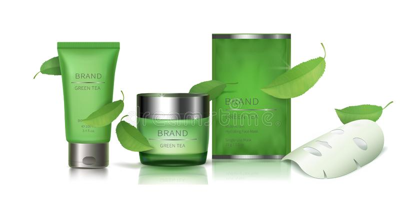 绿色玻璃瓶子和面部板料面具 库存例证