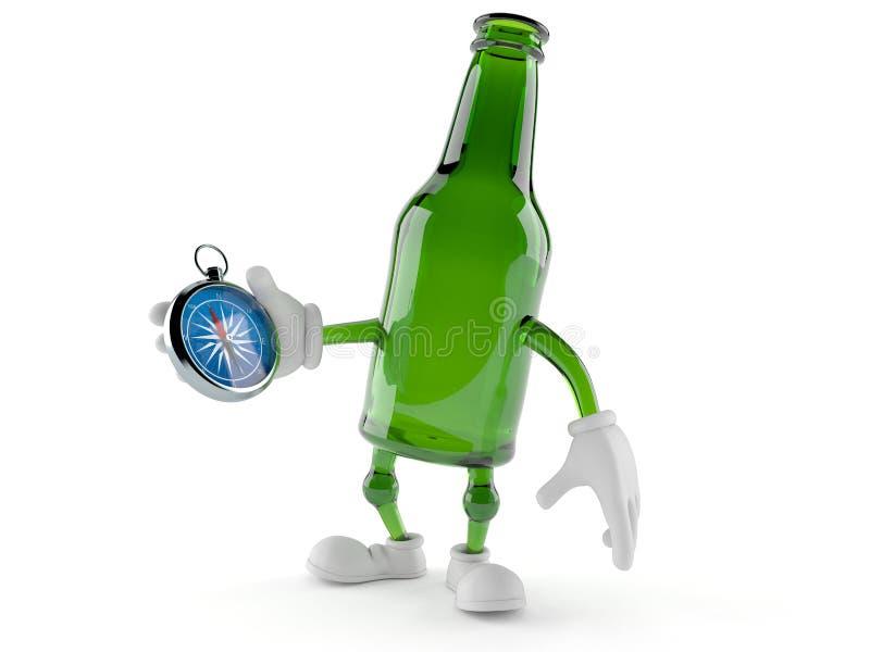 绿色玻璃瓶字符藏品指南针 皇族释放例证