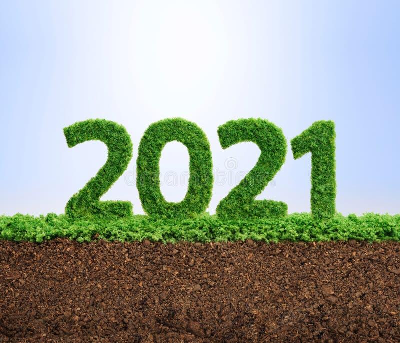 2021绿色生态年概念 皇族释放例证