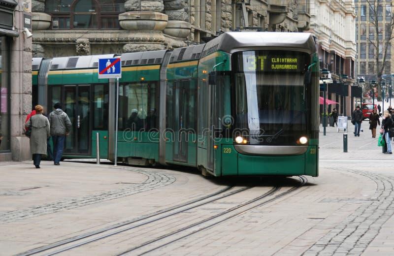 绿色电车 免版税图库摄影