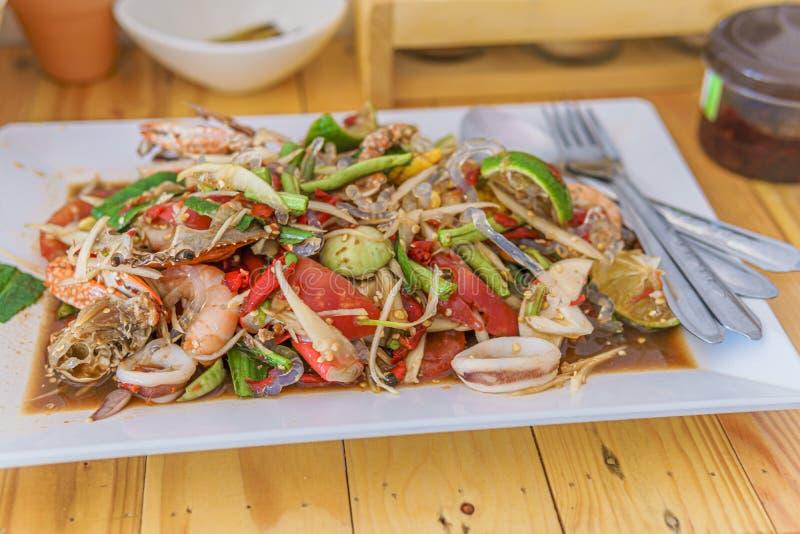 绿色番木瓜沙拉索马里兰胃泰语 图库摄影
