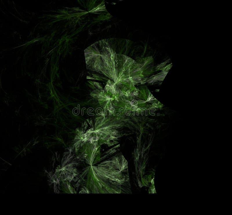 绿色白色分数维背景 幻想分数维纹理 abstact艺术深深数字式红色转动 3d翻译 计算机生成的图象 库存例证