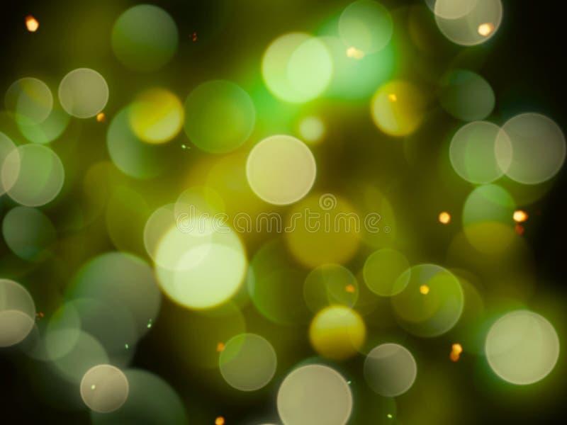 绿色白色和黄色抽象被弄脏的光充分构筑对黑暗的背景的明亮的发光的闪烁作用 向量例证