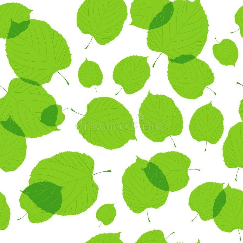 绿色的无缝的模式在白色离开 皇族释放例证