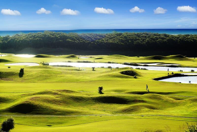 绿色的美好的高尔夫球地方在有日落的美好的高尔夫球场 图库摄影